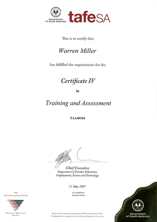 Warren Miller Certificate IV Training and Assesment