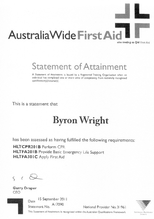 BYRON WRIGHT First Aid
