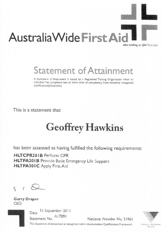 GEOFFREY HAWKINS  First Aid