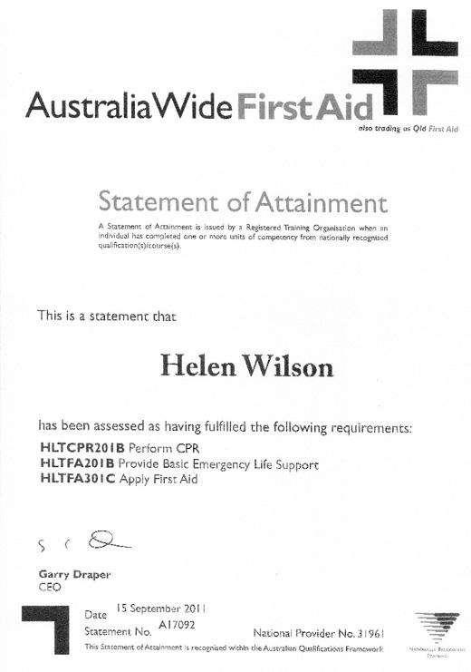 HELEN WILSON  First Aid