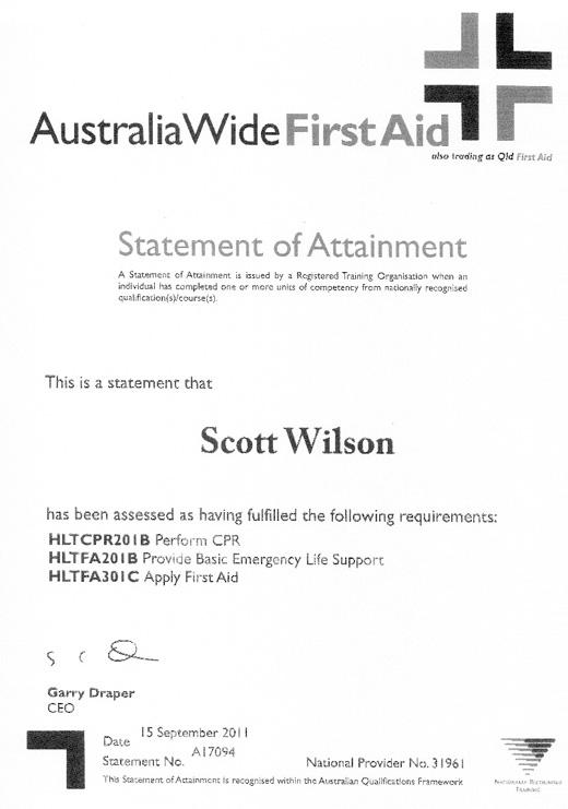 SCOTT WILSON First Aid