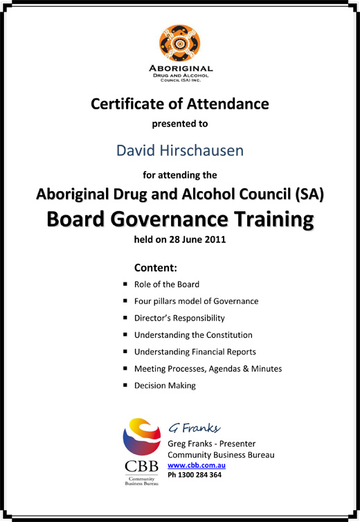 Governance Training Certificate David Hirschausen