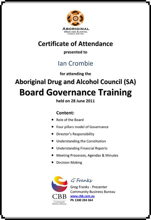 Governance Training Certificate Ian Crombie