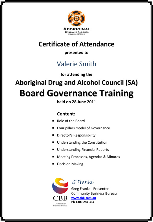 Governance Training Certificate Valerie Smith