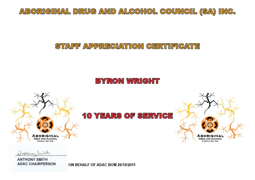 Byron Staff Appreciation Certificate