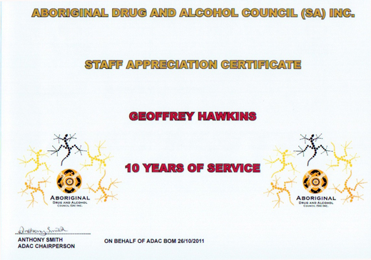 Geoffrey Hawkins  Staff Appreciation Certificate