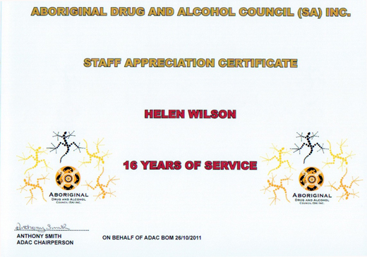 Helen Wilson Staff Appreciation Certificate