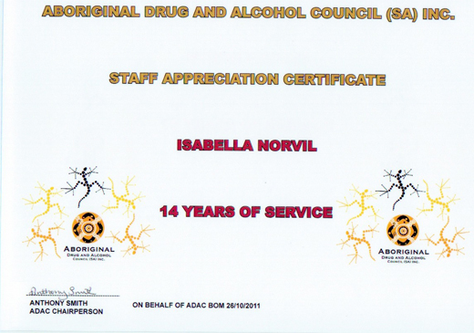 Isobel Norvill Staff Appreciation Certificate