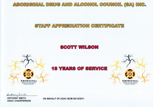 Scott Wilson Staff Appreciation Certificate