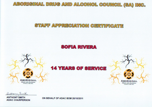 Sofia Rivera Staff Appreciation Certificate