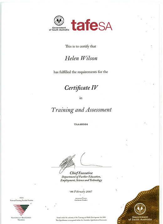 Helen Wilson TAA40104 Training and Assessment