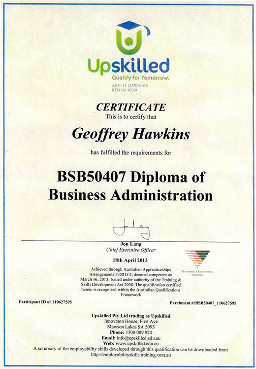 Geoffrey Hawkins BSB50407 Diploma of Business Administration
