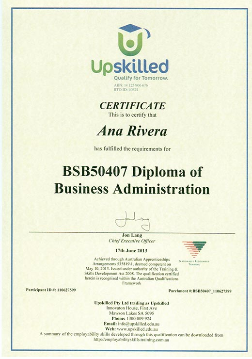 Sofia Rivera Diploma of Business Administration