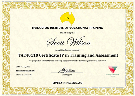 Scott Wilson TAE40110 Certificate IV in Training and Assessment