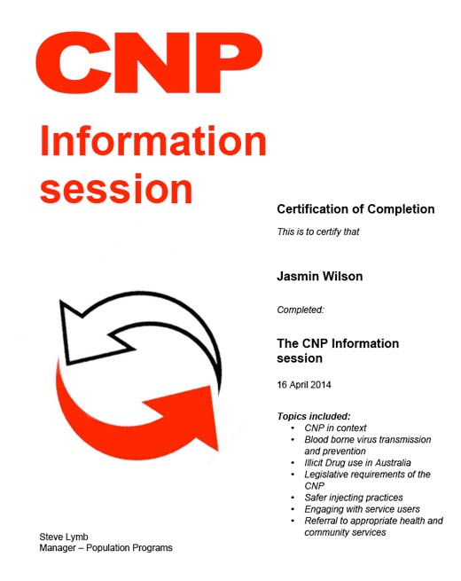 Jasmin Wilson The CNP Information Session 16th April 2014 - 02 Jun 2014