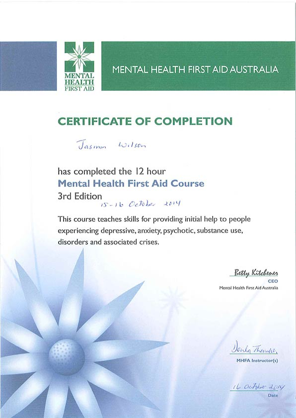 JASMIN WILSON MENTAL HEALTH FIRST AID AUSTRALIA