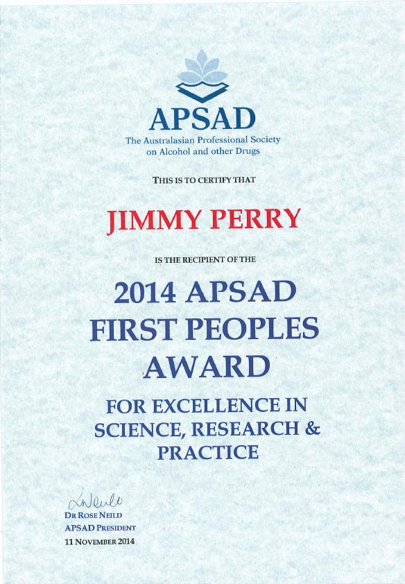 2014 APSAD First Peoples Award for Excellence In Science, Research & Practise