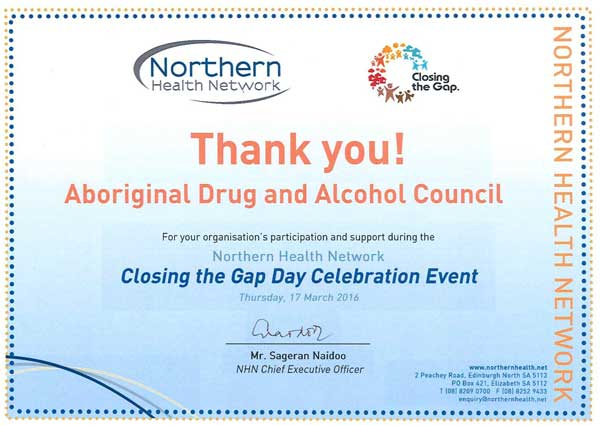 Thank You Certificate from the Northern Health Network