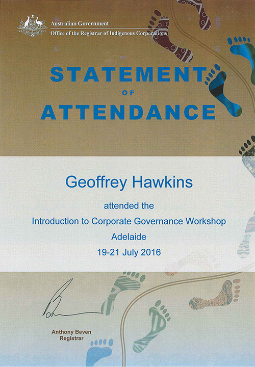 Statement of Attendance Introduction to Corporate Governance Workshop