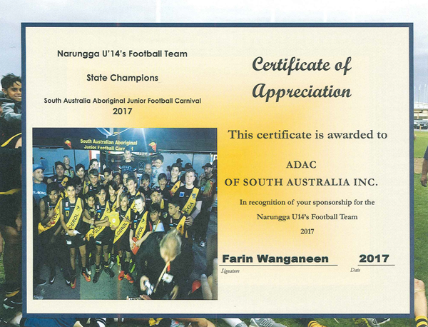 Appreciation Certificate Narungga U14 Football Team