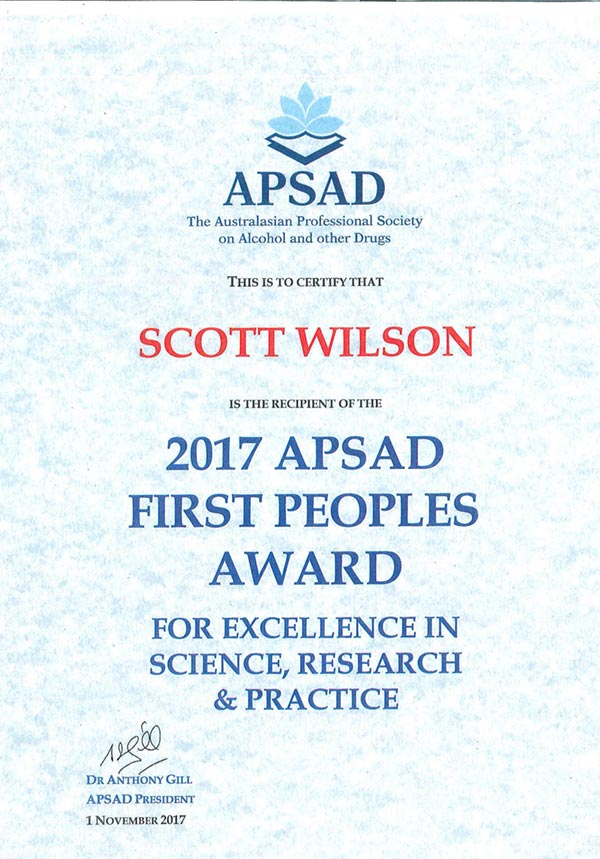 2017 APSAD First Peoples Award for Scott Wilson