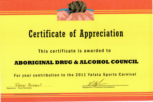 Certificate of Appreciation Yalata Sports Carnival 2011