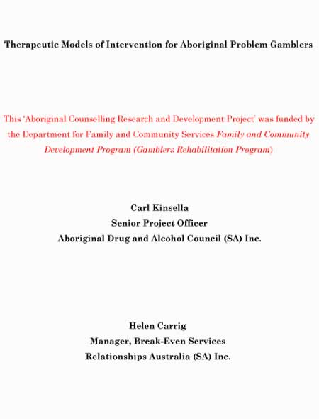 1997 Therapeutic Models of Intervention for Aboriginal Problem Gamblers - Other